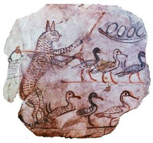 Egyptian Painting of Cat Guarding Geese