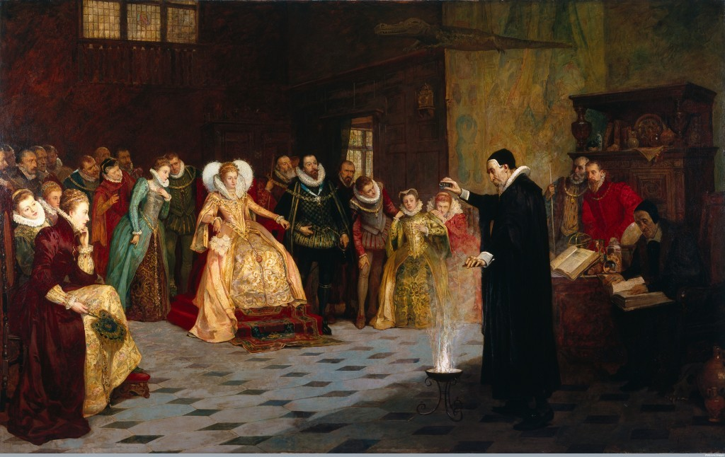 L0021973 John Dee performing an experiment before Queen Elizabeth I. Credit: Wellcome Library, London. Wellcome Images images@wellcome.ac.uk http://wellcomeimages.org John Dee performing an experiment before Queen Elizabeth I. Oil painting by Henry Gillard Glindoni. By: Henry Gillard GlindoniPublished: - Copyrighted work available under Creative Commons Attribution only licence CC BY 4.0 http://creativecommons.org/licenses/by/4.0/