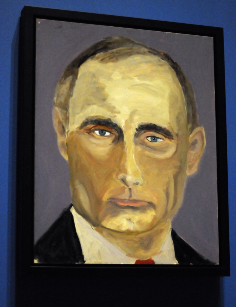 "A portrait of Russian President Vladimir Putin which is part of the exhibit ""The Art of Leadership: A President's Diplomacy,"" is on display at the George W. Bush Presidential Library and Museum in Dallas, Friday, April 4, 2014. The exhibit of portraits of world leaders painted by former President George W. Bush opens Saturday and runs through June 3. (AP Photo/Benny Snyder)"