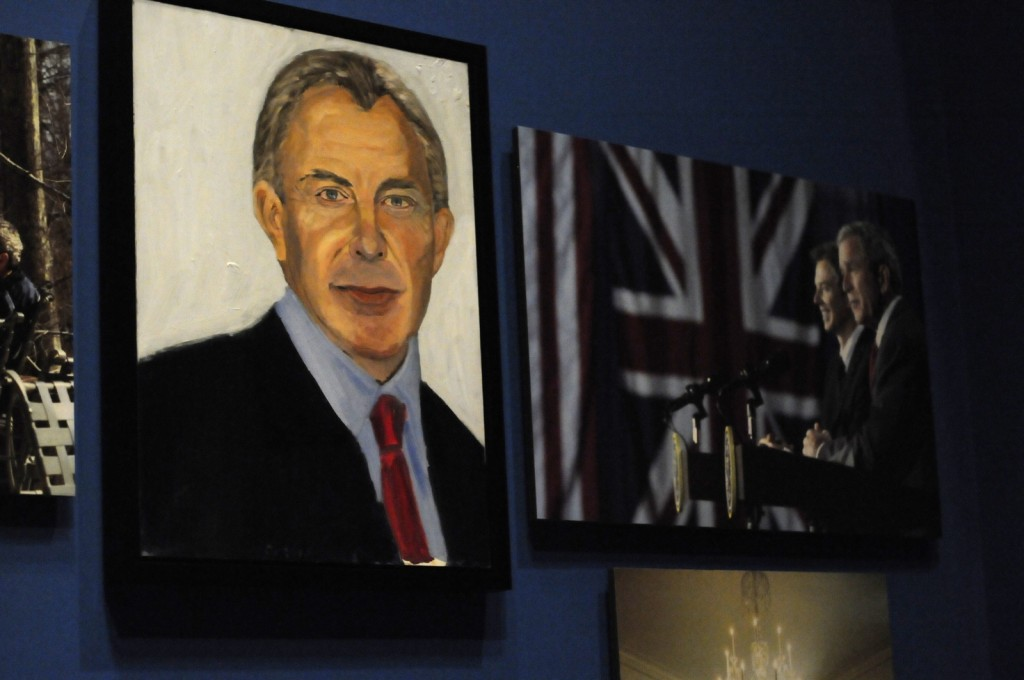 "A portrait of former British Prime Minister Tony Blair which are part of the exhibit ""The Art of Leadership: A President's Diplomacy,"" is on display at the George W. Bush Presidential Library and Museum in Dallas, Friday, April 4, 2014. The exhibit of portraits of world leaders painted by former President Goerge W. Bush opens Saturday and runs through June 3. (AP Photo/Benny Snyder)"