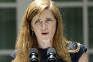 Samantha Power, President Barack Obama choice for next UN Ambassador, speaks in the Rose Garden of the White House in Washington, Wednesday,June 5, 2013, after the president made the announcement. Power is a fiery human rights advocate who has famously taken presidents to task for refusing to use military force to stop genocide. Nominated as the next U.N. ambassador, she may have to bite her tongue as the Obama administration resists getting drawn into Syria. (AP Photo/Pablo Martinez Monsivais)