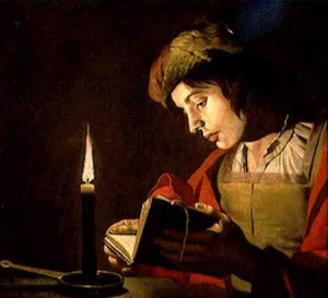 SNM128541 Young Man Reading by Candle Light (oil on canvas) by Stomer, (Stom) Matthias (c.1600-p.1650) oil on canvas 175x172 © Nationalmuseum, Stockholm, Sweden Dutch, out of copyright
