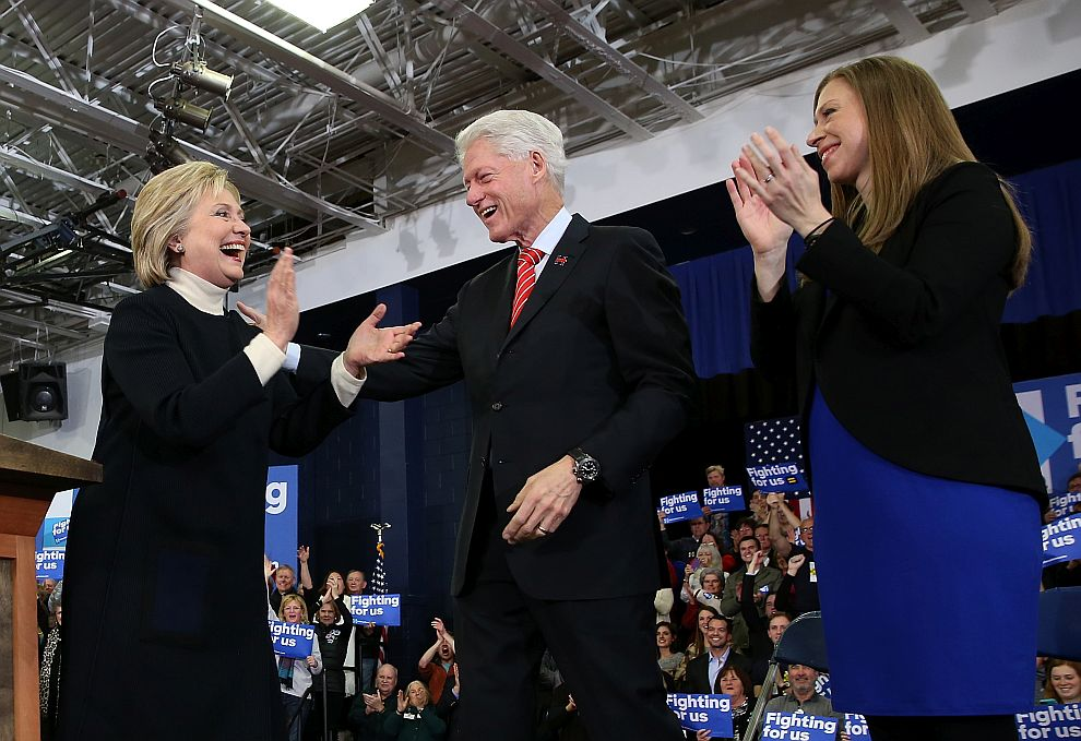HOOKSETT, NH - FEBRUARY 09: Democratic presidential candidate, former Secretary of State Hillary Clinton arrives for her primary night gathering with daughter Chelsea Clinton and husband, former President Bill Clinton at Southern New Hampshire University on February 9, 2016 in Hooksett, New Hampshire. Rival Sen. Bernie Sanders (D-VT) was projected the winner shortly after the polls closed. (Photo by Justin Sullivan/Getty Images)