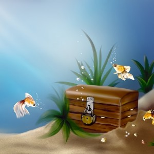 art_underwater_sea_fish_gold_chest_treasure_castle_bubbles_74937_1024x1024