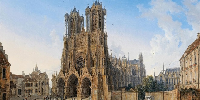 The-Cathedral-of-Notre-Dame-Reims-with-a-Procession-of-Communicants-Domenico-Quaglio-the-Younger-Oil-Painting